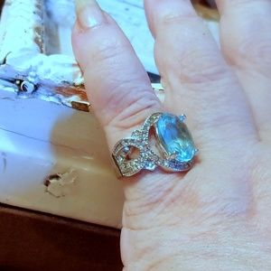 Aqua & Clear CZ 925 Silver Statement Ring-Stamped